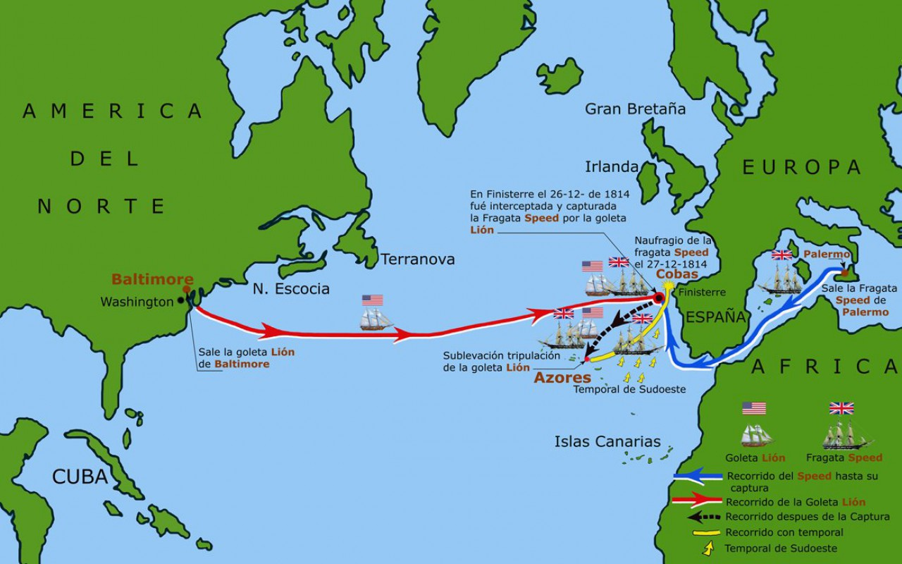 Mapa do recorrido da fragata Speed