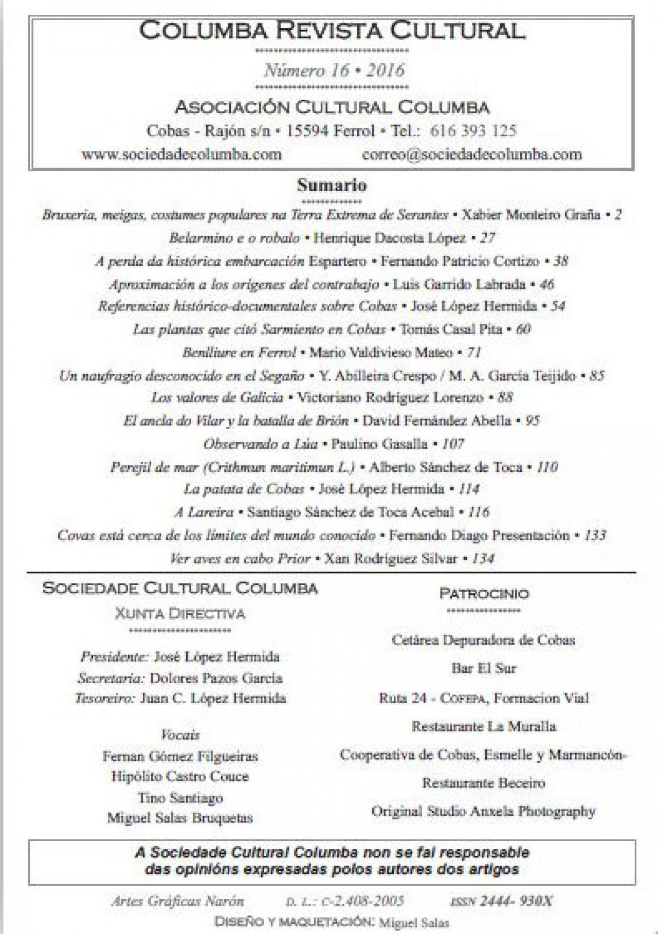 Indice Revista Columba Nº 16