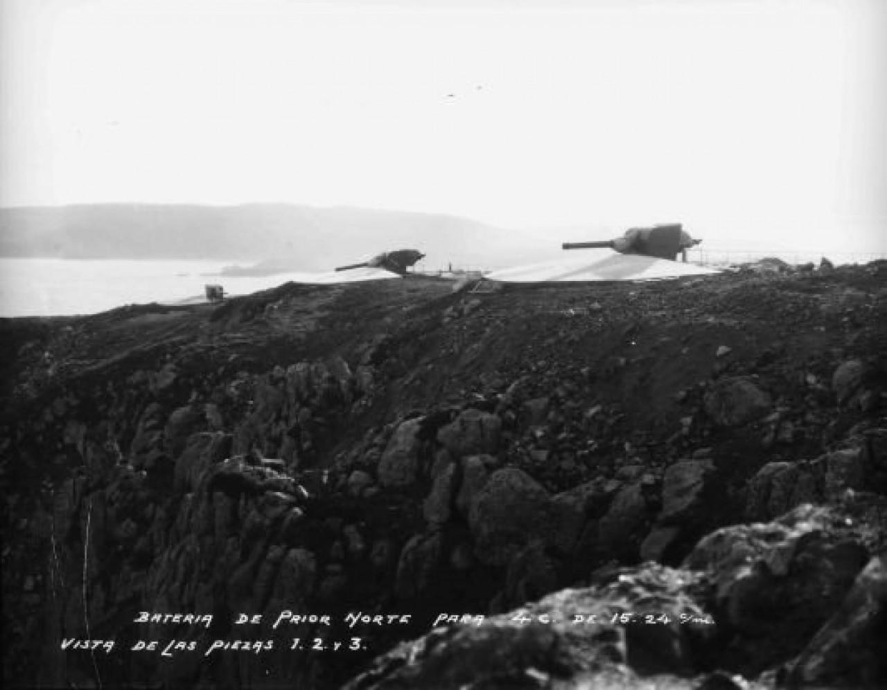 Batería de Prior Norte con vistas a las piezas 1, 2, 3 en  el año 1928